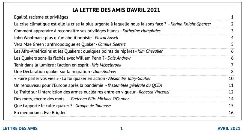 """20210400 Lettre amis sommaire - """"La Lettre des Amis"""" : avril 2021"""